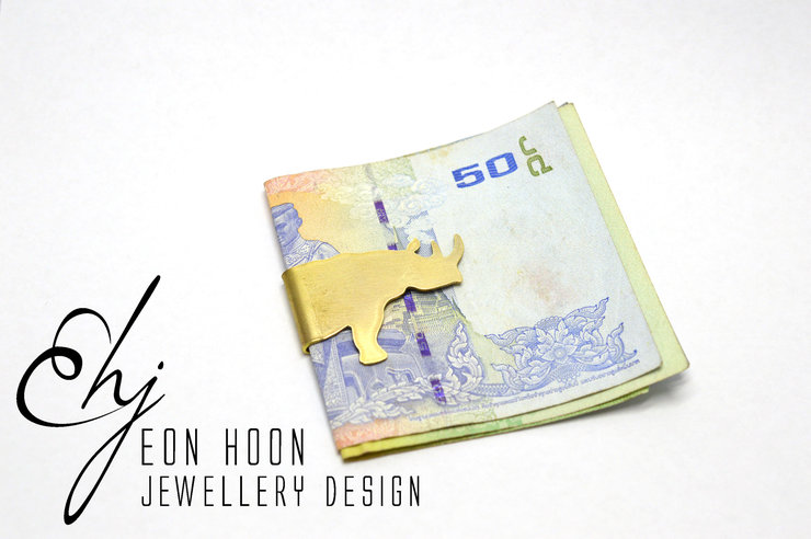 Brass Rhino Money Clip by Eon Hoon Jewellery Design
