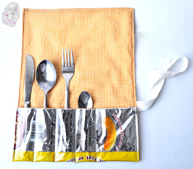 Upcycled Chips Packet-Cuttlery storage roll by Creative Lines