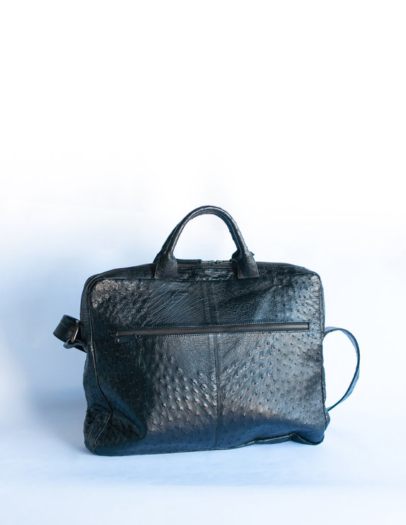 Dexter Black Ostrich Skin Laptop Bag  by Modern & Tribal Designs