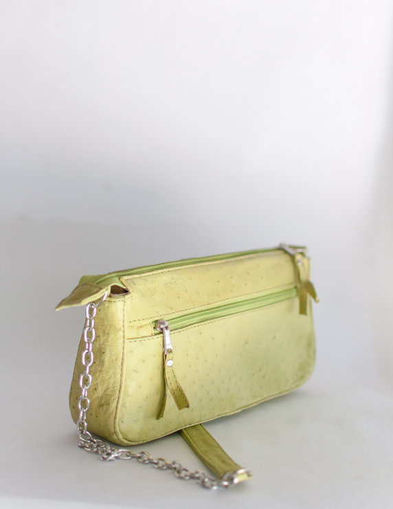Mandy Lime Green Ostrich Skin Sling Bag by Modern & Tribal Designs