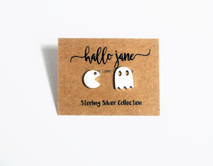 Pacman Studs - Sterling Silver by HALLO JANE