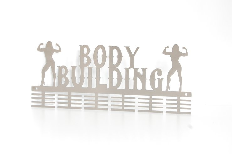 Lady body building medal hanger in Stainless steel brush finish by Medal Hanger & Home Décor Specialists - DC Designers