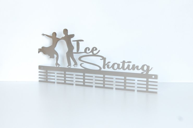 Ice skating medal hanger in Stainless steel brush finish by Medal Hanger & Home Décor Specialists - DC Designers