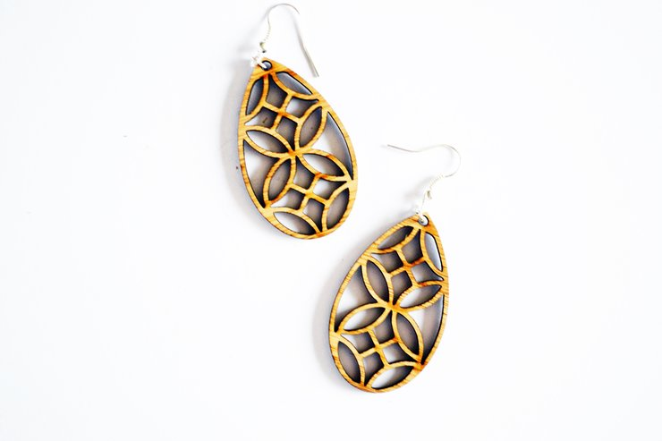 Bamboo Earrings - French Wallpaper by HALLO JANE