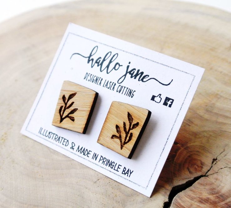 Illustrated Square Leaf Earings by HALLO JANE