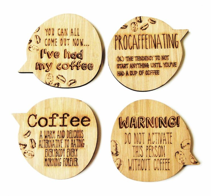 Coffee Addict Bamboo Coasters by HALLO JANE