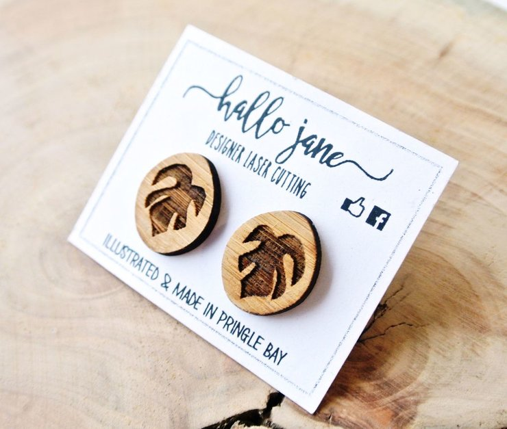 Engraved Bamboo Delicious Monster studs by HALLO JANE