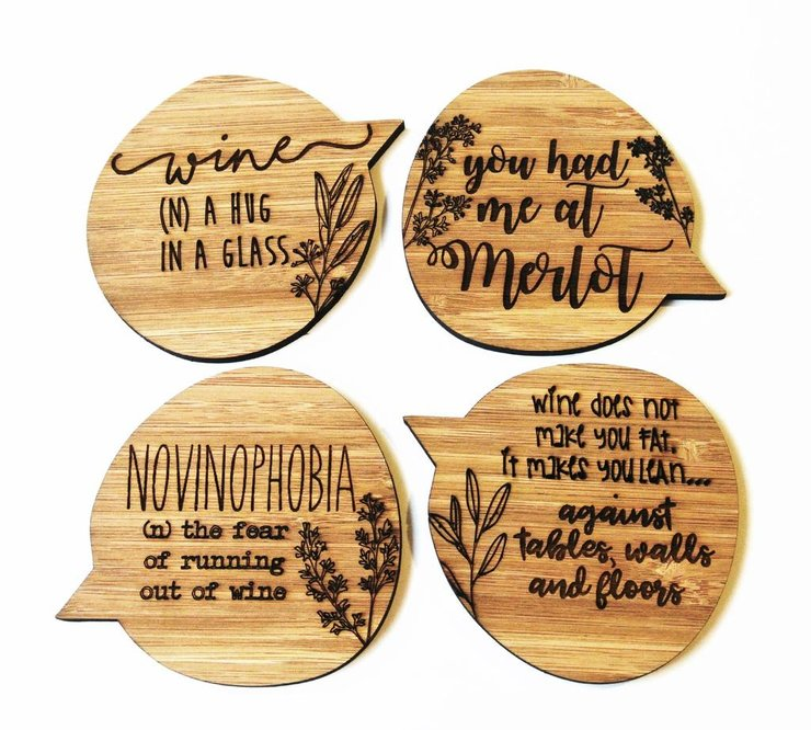 Wine Fanatic Bamboo Coasters by HALLO JANE