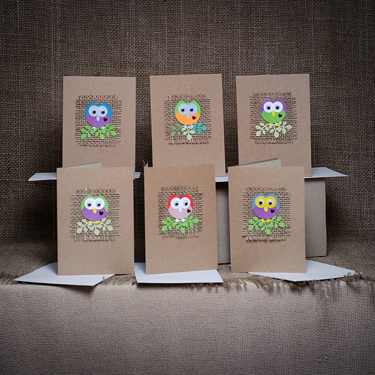 6 pack owl greeting cards hello pretty buy design 6 pack owl greeting cards by 1 paper bag m4hsunfo