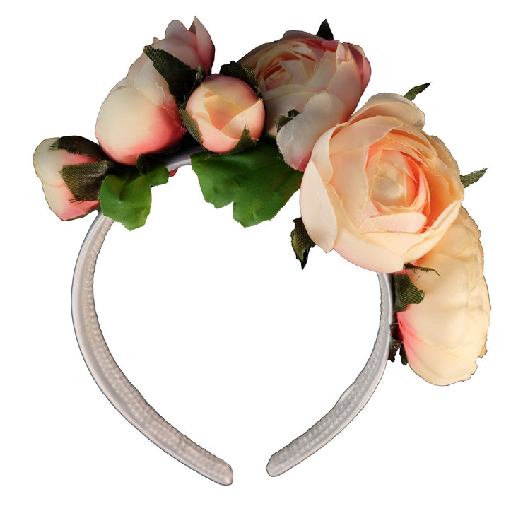 Peach Rose Half Crown by Blackeyed Susan