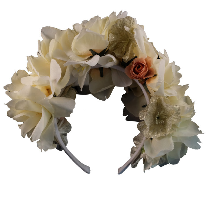 Ivory & Peach Roses Full Crown by Blackeyed Susan