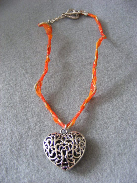 'Fire in My Heart' Necklace - Silver & Orange by Gecko Gifts