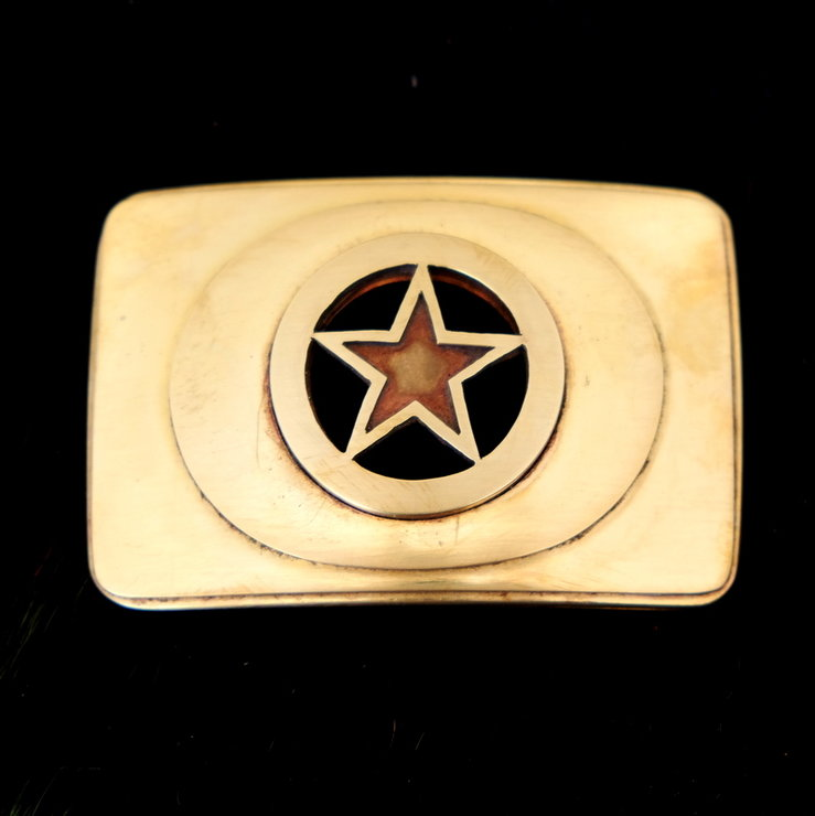 Handcrafted Revolution brass buckle by Pickled Ginger
