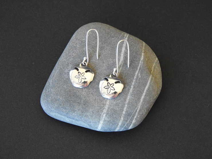 Pansy Shell Dangle Earrings in sterling silver by Cherry and Finch Designs