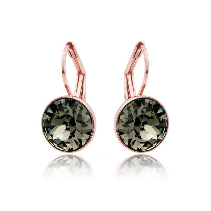 Civetta Spark Miki Earrings with Black Diamond Swarovski Crystal - Rose Gold Plated by Civetta Spark