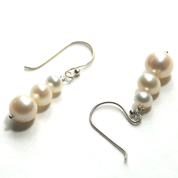 64fbce854 White 6-10mm freshwater pearl earings on 925 sterling silver | Hello ...