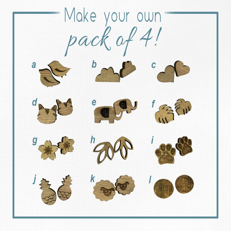 Wooden Studded Earrings - Make Your Own Pack of 4! by Miss Magpie