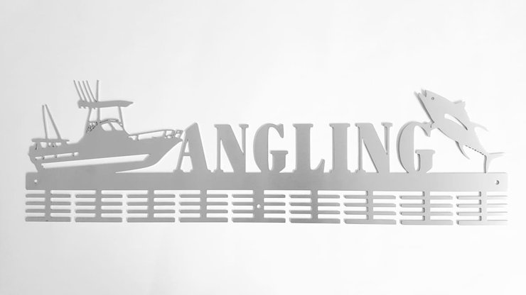 Angling 72 tier medal hanger Stainless steel brush finish by DC Designers-Medal Hanger Specialists