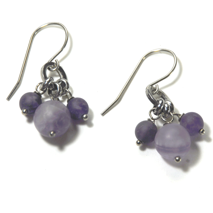 Natural frosted Amethyst gemstone cluster earrings on stainless steel earwire by ATENEA