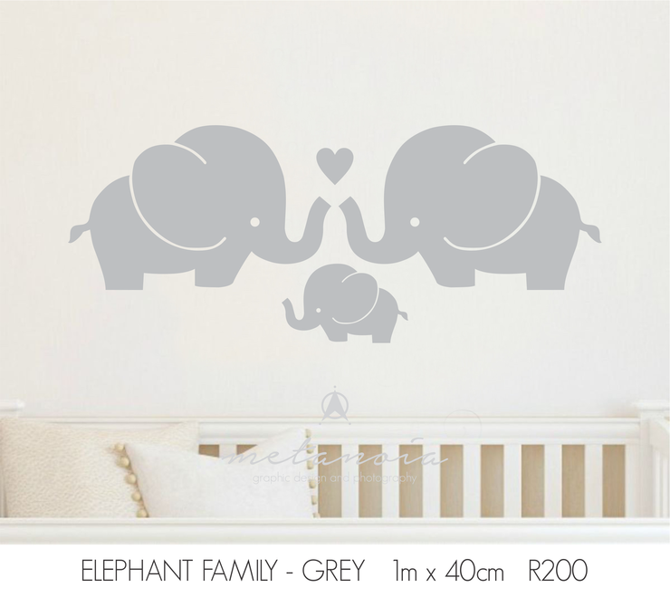 Elephant Family Vinyl Wall Decal for Nursery by Bold Space
