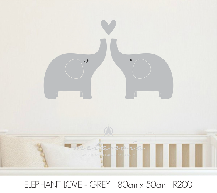 Elephant Love Vinyl Decal for Nursery by Bold Space