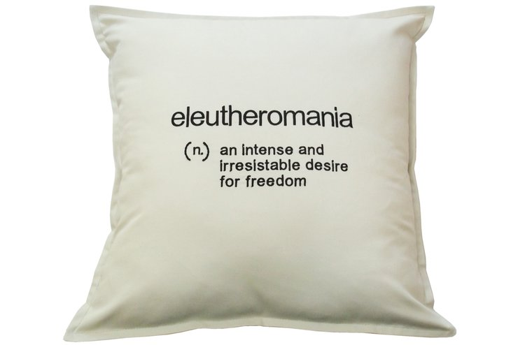 Eleutheromania embroidered cushion by Pillow Talk