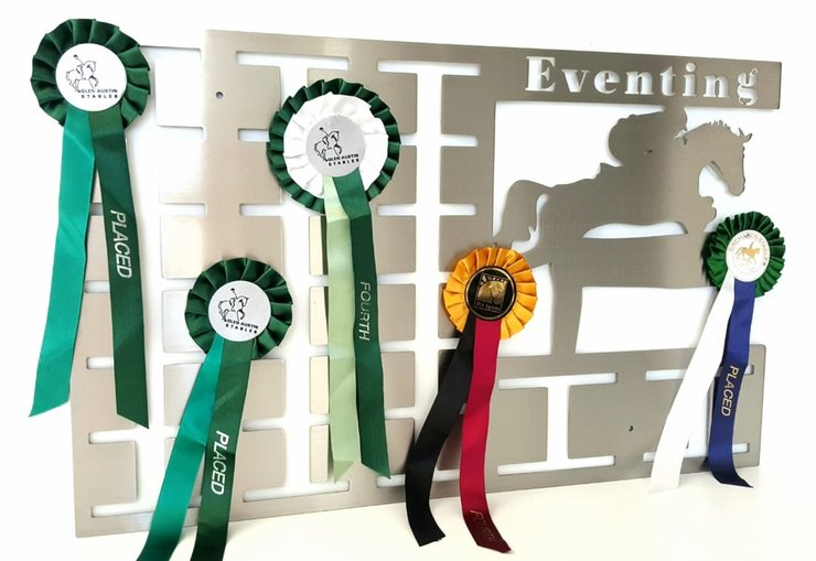 Eventing Rosette Hanger - Stainless steel brush finish by DC Designers-Medal Hanger Specialists