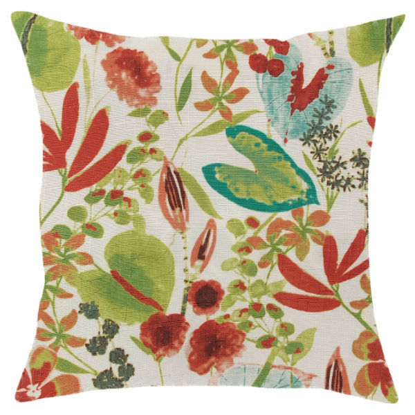 White pillow/scatter cushion cover with exotic flower heads - inner included 50x50cm by Going Dutch In Sa