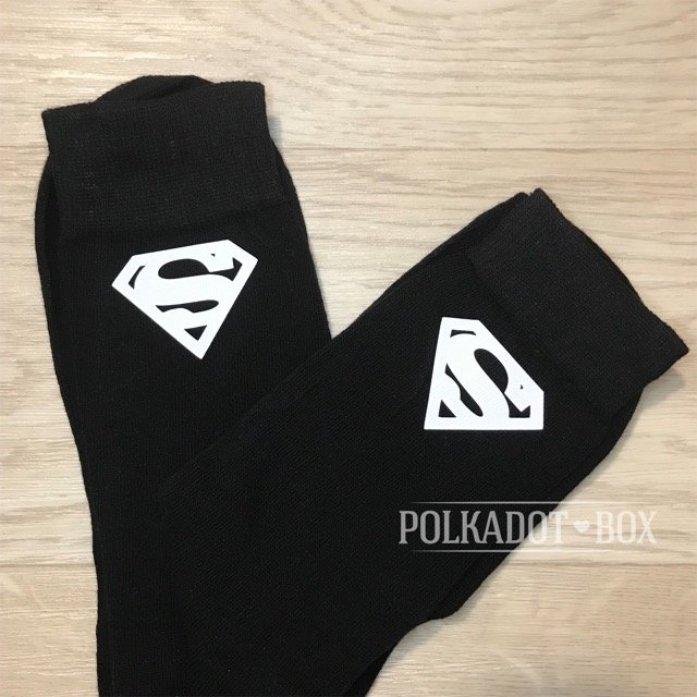 Superman logo wedding socks   by Polkadot Box