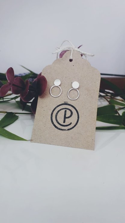Round Disk and Flat Disk Double Wear Earrings - .925 sterling silver by CP Jewellery