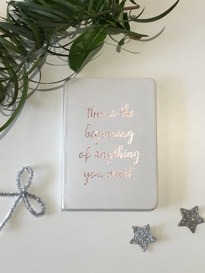 White Journal notebook with inspirational quote Gift Birthday Bridesmaid by Love & Sparkles