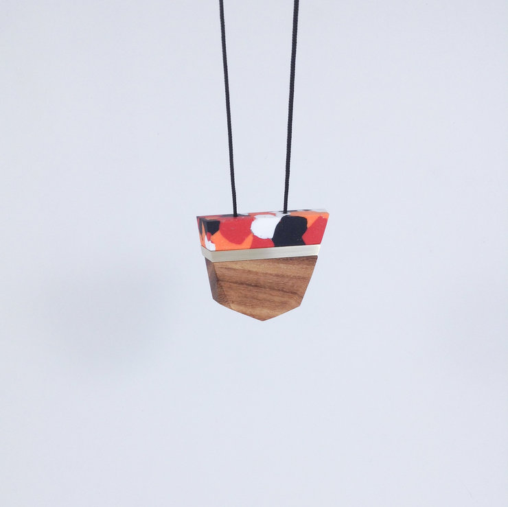 Facet Wood + Clay Pendant Autumn Colours by dor&kie jewellery objects