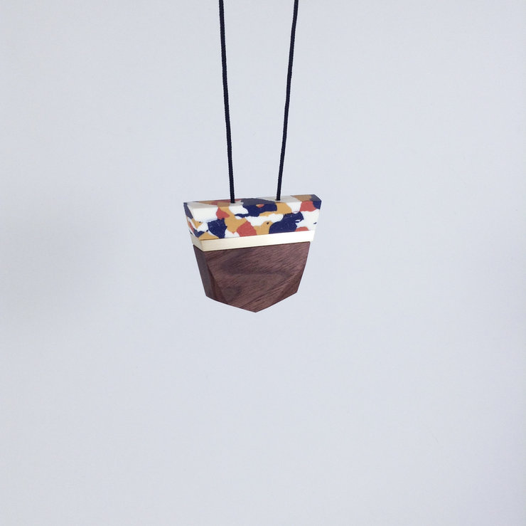 Facet Wood + Clay Pendant Winter Colours by dor&kie jewellery objects