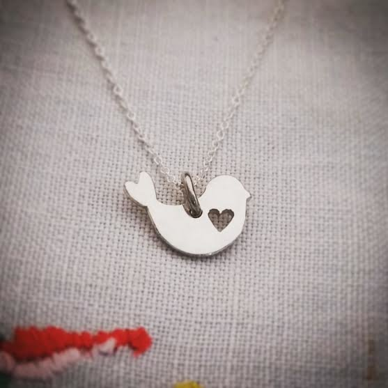 Handmade sterling silver large fat bird necklace by GloveJewellery