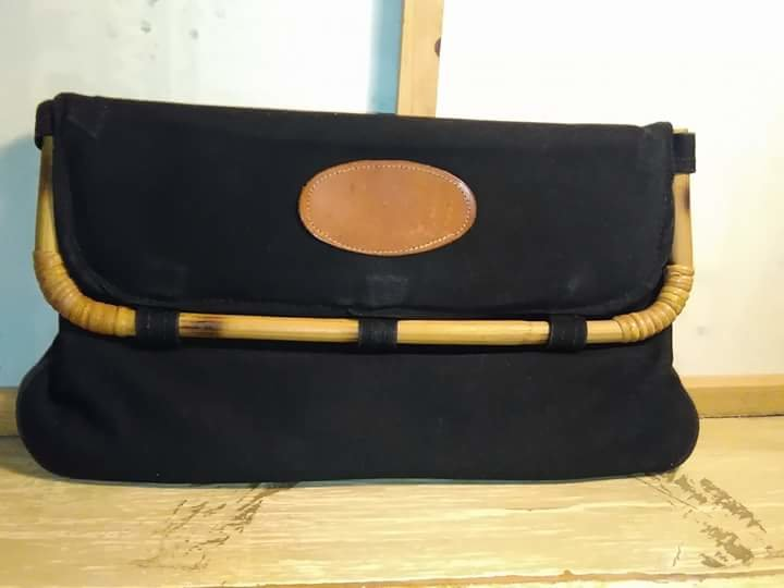 Black Clutch With Wooden Flap Frame