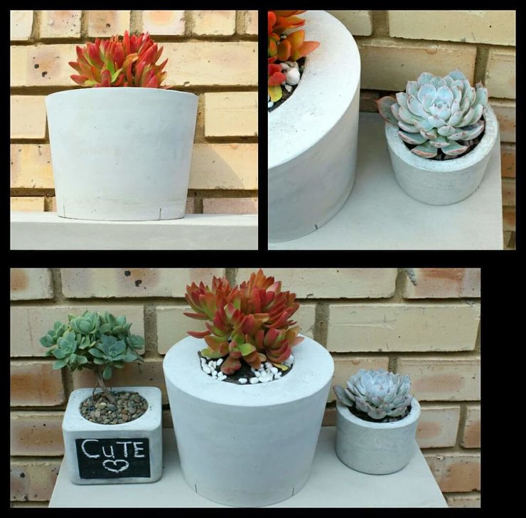 Cement planter - round small by Oh my woodness