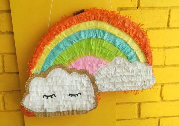 Rainbow and Fluffy Clouds Pinata by Piñatas Galore