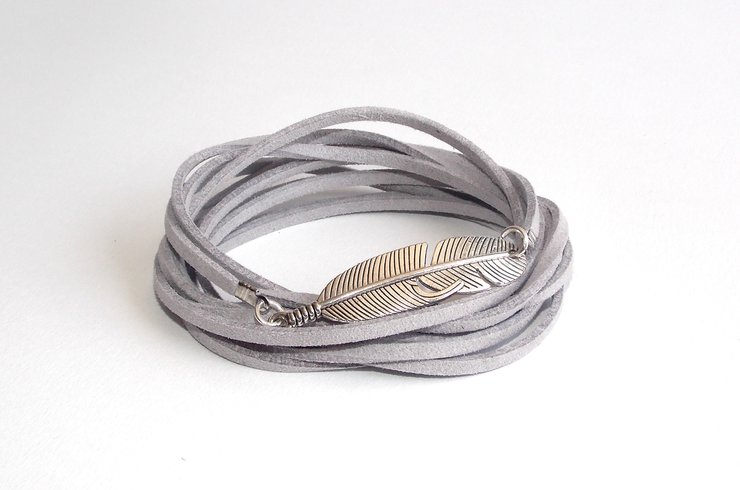 Silver Feather Wrap- Grey Suede by Lakota Inspirations