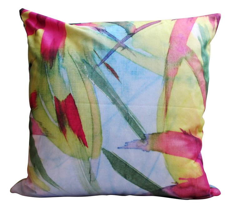 LUX PANAMA Feisty Floral Watercolour on Blue Cushion Cover by handmade by me