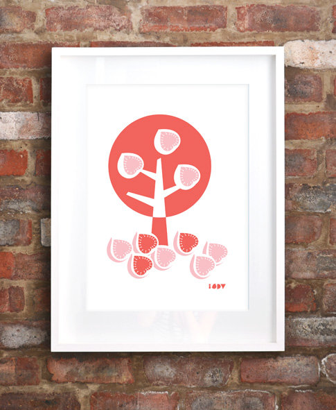 """Fig Tree"" silkscreen print in coral and pink by i Spy"