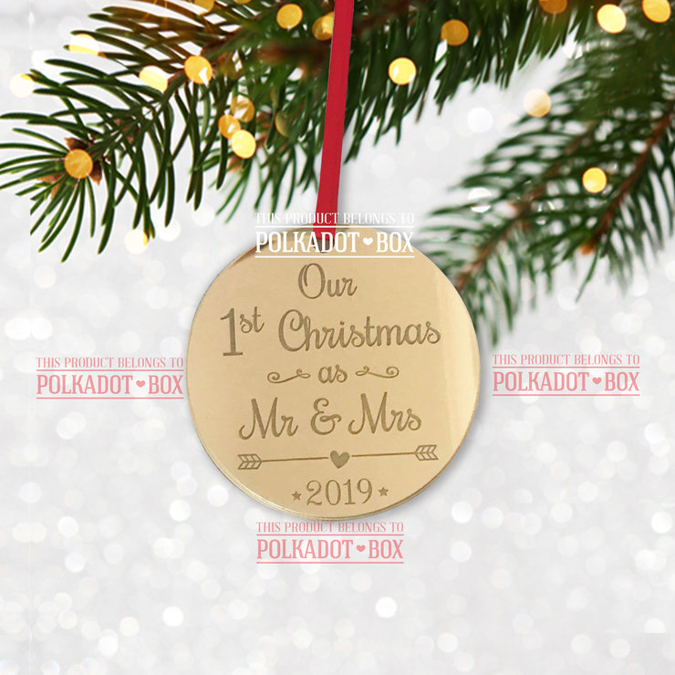Mr & Mrs First Christmas Ornament  by Polkadot Box