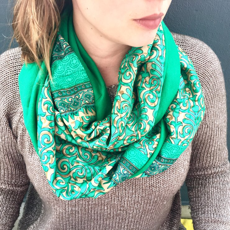 Floral Emerald Swirl Patchwork Sari Snoods by Misc. Clothing
