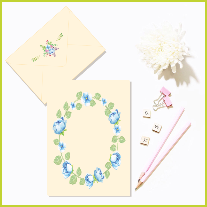 Customisable Floral Watercolour Invite/Note and Envelope (Option 2) by The Art of Creativity Studio