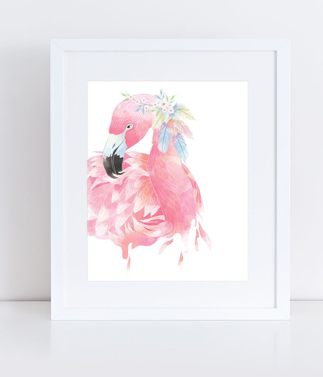 Florence the Flamingo - Print by PandaLove