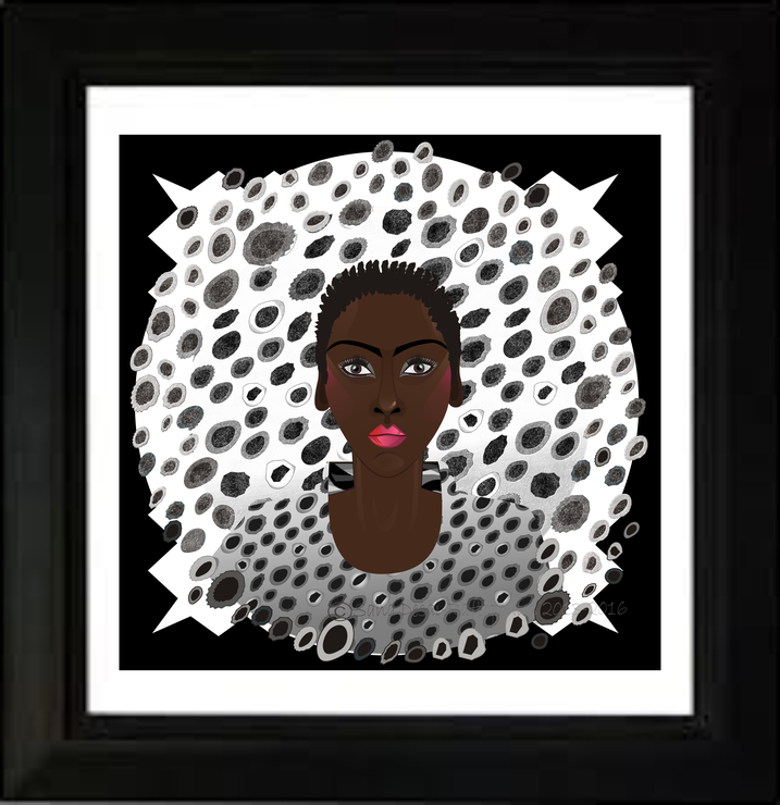 LEOPARD SPOT LADY 106(BACK/ WHITE) square print by AFRIKARTWORX