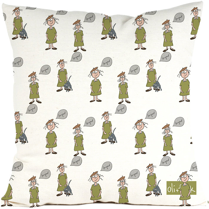 french girls cushion cover by oli+frank