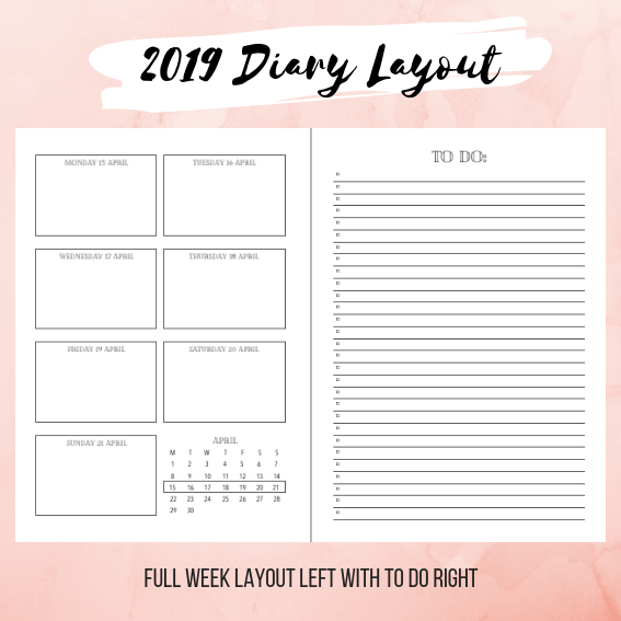 image regarding Planner Printable called Customisable 2019 Diary or Planner Printable with Complete 7 days style and design upon the still left and In direction of Do checklist upon the immediately