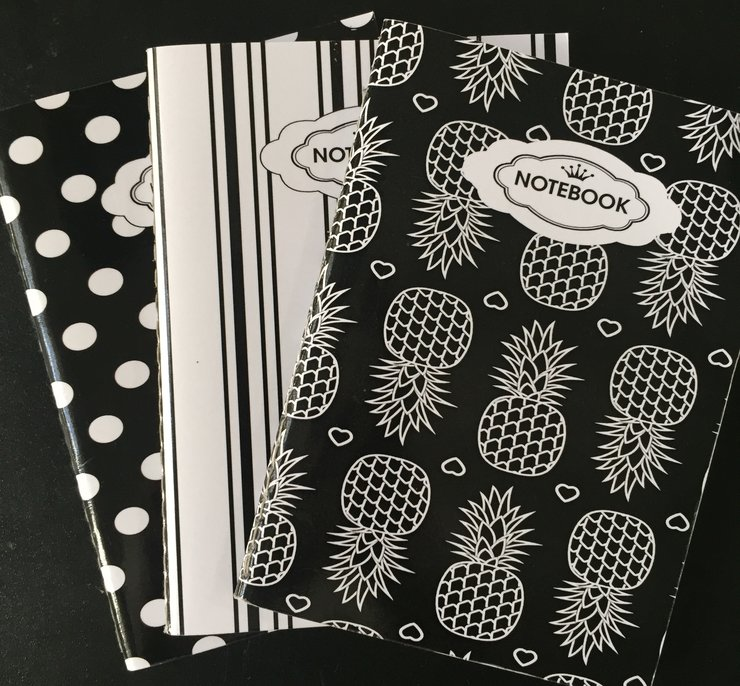 A6 - BLACK AND WHITE PINEAPPLE PACK OF 3 - PO3N - 113 by Cool Creations