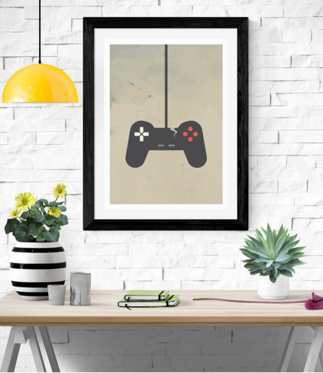 Gamer controller digital poster print artwork  by Fit&Co