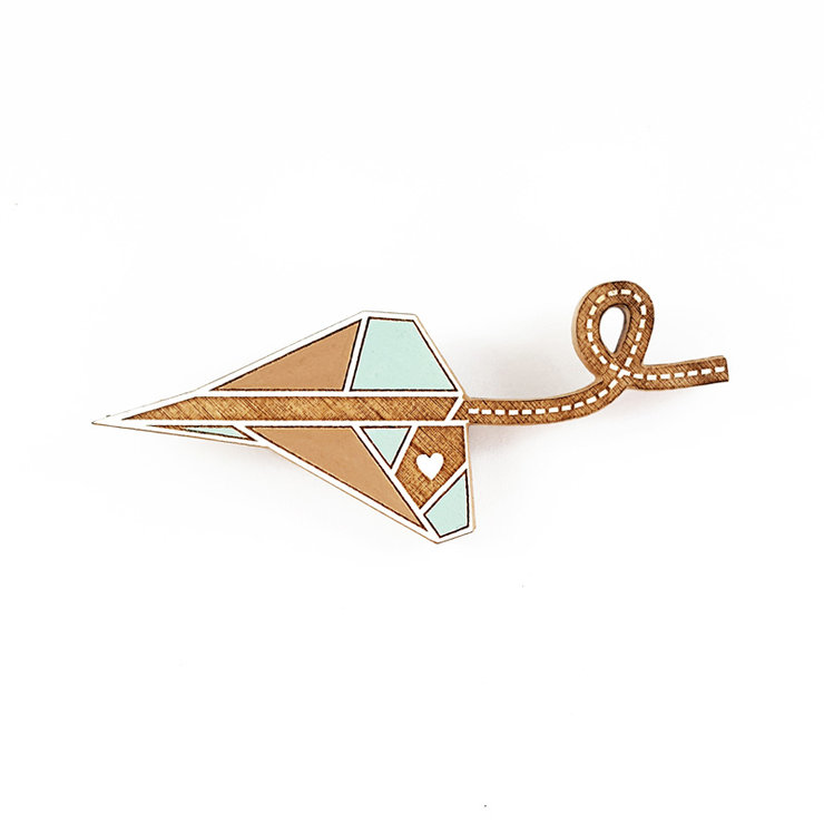 brooch /PAPER PLANE/ turquoise by LANDI KUHN Functional Art & Design